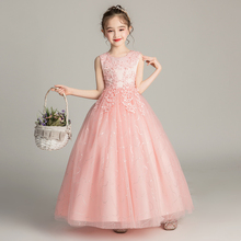 Children's Dress Princess Skirt, Flower Dress, Children's Wedding Dress, Foreign Style Girl Piano Dress, Little Girl Host's Evening Dress Summer