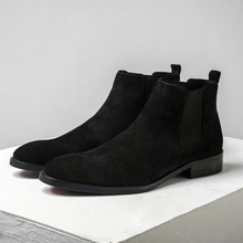 Men's Shoes Spring 2019 New English Leather Chelsea Boots Men's Boots Upper Turn Fur Shoes Shoes Martin Boots
