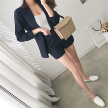 New cotton and linen casual shorts fashionable two-piece suit women's suit jacket in spring and summer of 2019