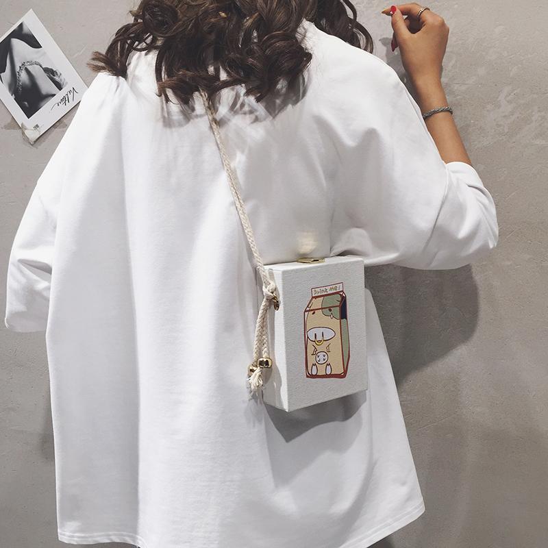 上新小包包女包新款2019卡通可爱帆布盒子小方包休闲单肩斜挎包潮