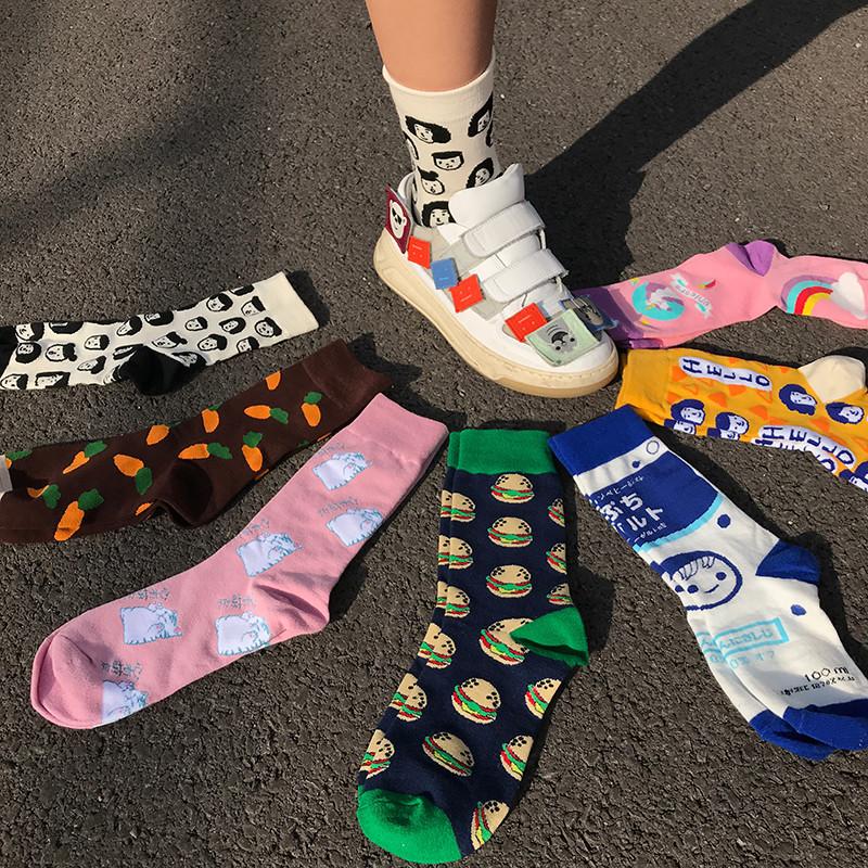 王少女的店 中筒袜 彩色堆堆袜街头日系可爱韩版秋冬个性图案袜子