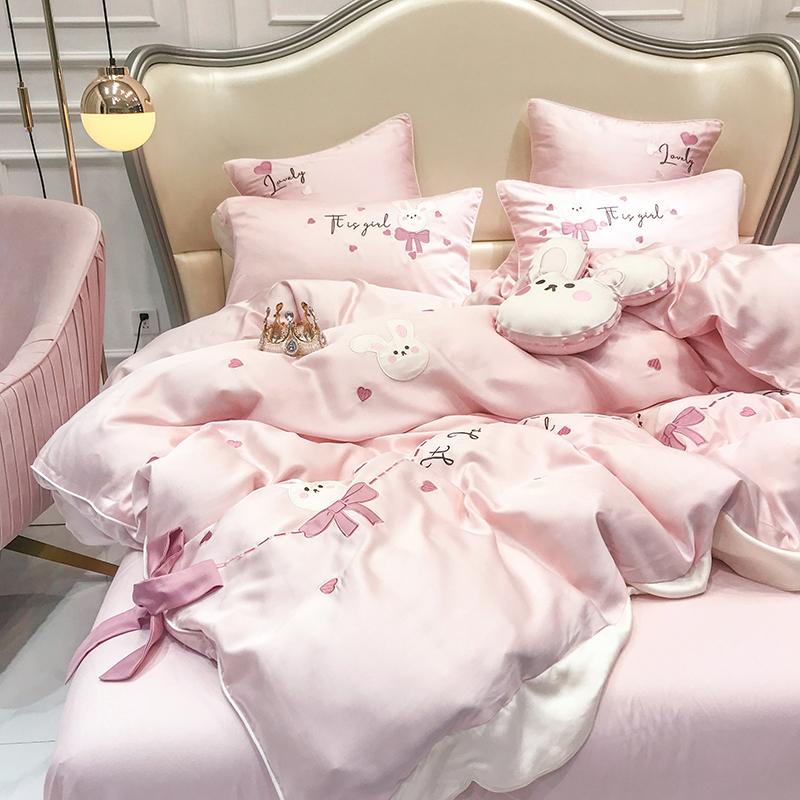 春夏可爱少女心60支兰精天丝四件套可爱小兔被套柔软裸睡床上用品