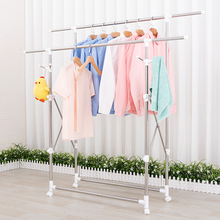 Stainless Steel Clothes Hanger Folding Balcony Expansion Air Pole Double-pole Indoor Simple Lifting and Hanging Clothes Hanger
