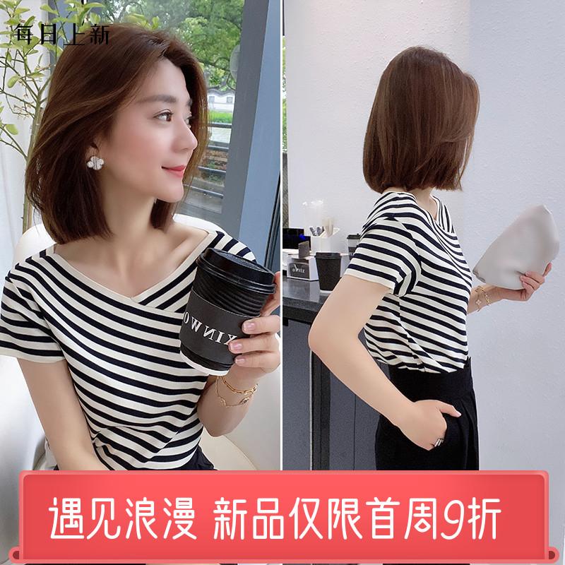 小个子条纹v领上衣短袖设计感韩版t恤女欧洲站夏装2020新款欧货潮