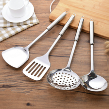 Kitchen stainless steel spatula thickening household long handle kitchen utensils not hot hand spoon fried shovel cooking shovel colander spoon