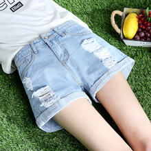 Jeans Shorts Female Summer 2019 New Style Outside wears Korean Version Loose Students Hundred Sets of High-waist, Broad-legged, Roll-edged Hole Hot Pants