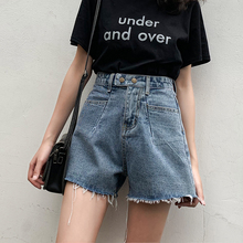 Jeans shorts women in the summer of 2019 wear high waist, thin, wide legs, Pangya hot pants of the same type