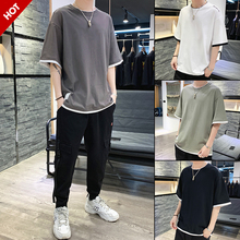 Summer 2019 New Long Sleeve Clothes Chao Men's Short Sleeve T-shirt Trendy Loose Cotton Half Sleeve Men's Summer Clothes