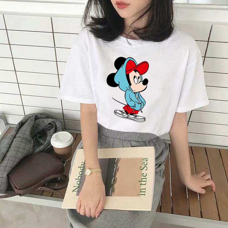 重磅美式精疏棉短袖T恤米老鼠合集大码休闲男女情侣闺蜜装