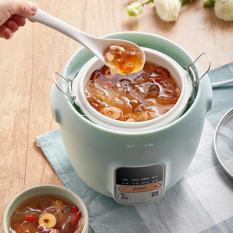 小熊小炖盅1升燕窝炖盅隔水炖家用陶瓷迷你电炖锅1人煲汤煮粥神器