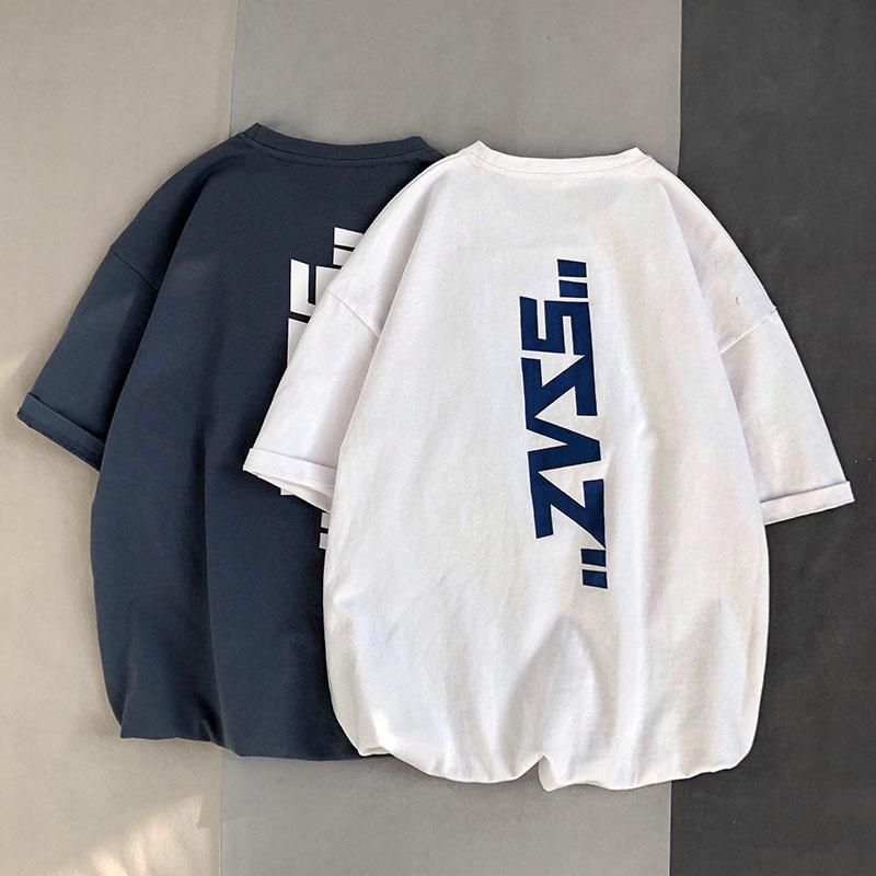 2020新款纯棉短袖T恤男夏季港风潮流百搭大码宽松圆领半袖上衣服