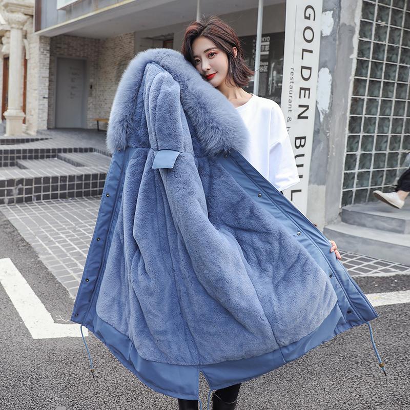 派克服棉服女加厚中长款棉衣收腰韩版外套2019冬季加绒棉袄新款潮
