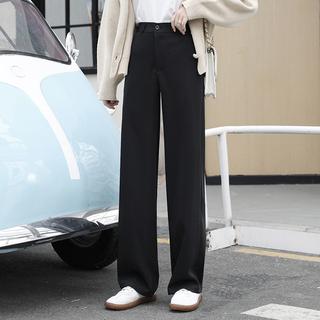 天庆西装裤女直筒宽松高腰垂感夏黑色显瘦百搭休闲春夏秋款阔腿裤