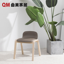 Qumei Home Solid Wood Dining Chair Nordic Soft Package Desk Chair Modern Leisure Chair Environmental Protection Restaurant Studio Furniture