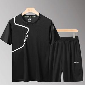 运动套装男夏季2020年新款T恤时尚洋气休闲服两件套夏季