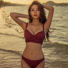New Korean version of bikini wine red steel holder decoration large and small chest sexy hot spring vacation split female swimsuit