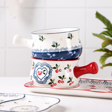 Breakfast bowl with handle Bowl Ceramic noodle bowl Japanese cute cherry cute dishware set