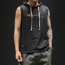 Summer dress new men's jacket, cap, Korean fashion sleeveless T-shirt, Chao brand loose large-size embroidered shoulder vest