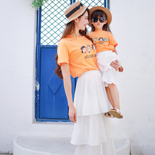 Parent-Child Dresses Mother-Child Dresses Foreign Style A Family of Three Populations and Four Populations 2019 New Fashion Mother-Child Skirt Net Red High-end Parent-Child Suit