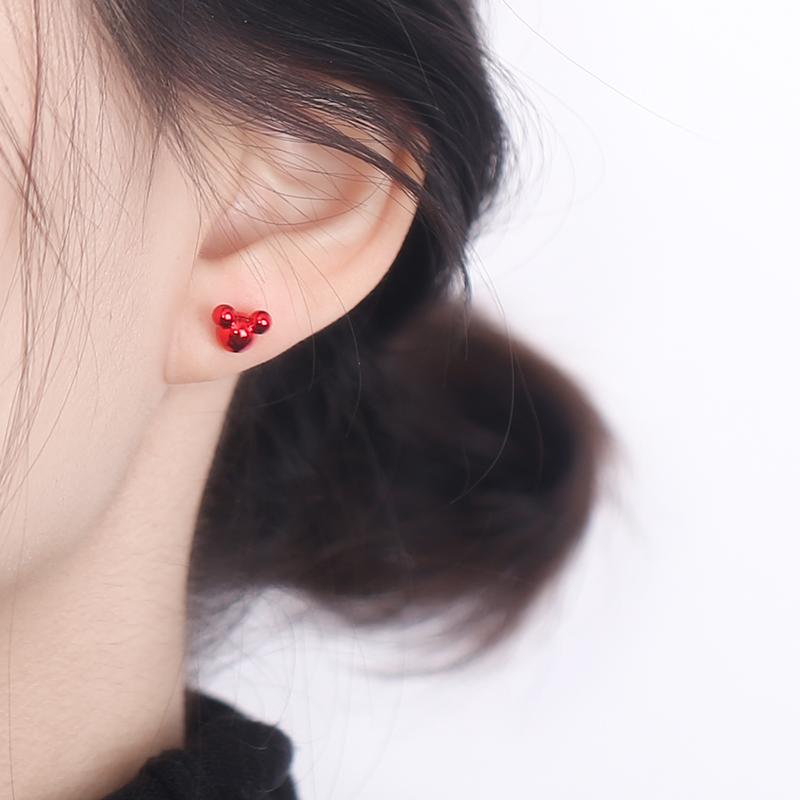 眼观红色米奇925银针小老鼠本命年耳钉可爱小巧耳饰过年喜庆耳环