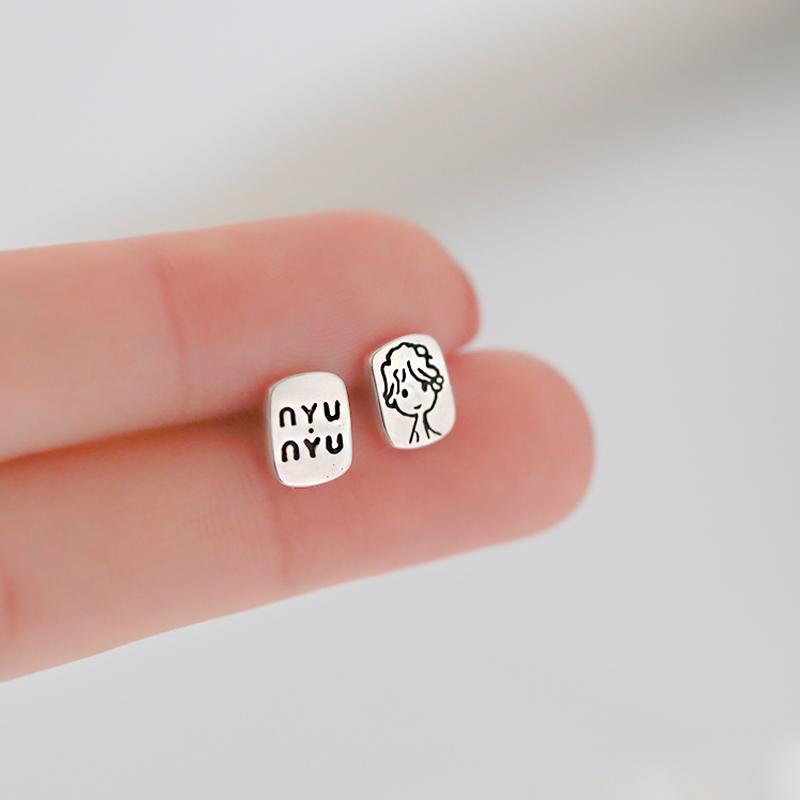 925纯银小王子不对称耳钉简约冷淡风女小巧ins不对称耳饰品新款潮
