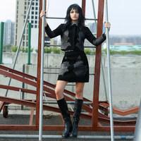 歐洲站春秋新款時尚氣質外套套裝女冬季新款綿羊皮真皮皮衣皮短裙