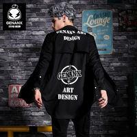 GENANX闪电潮牌 男士黑色长袖衬衫韩版中长款衬衣 青少年印花寸衫
