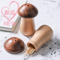 Japanese creative solid wood toothpick tube mushroom cute mushroom shape toothpick pot wooden toothpick box toothpick storage tank household