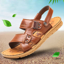 Sandals Men's Dermis Summer New Magic Sticker Cowhide Leisure Men's Sandal Shoes Dermis Thick Bottom Anti-skid Cool