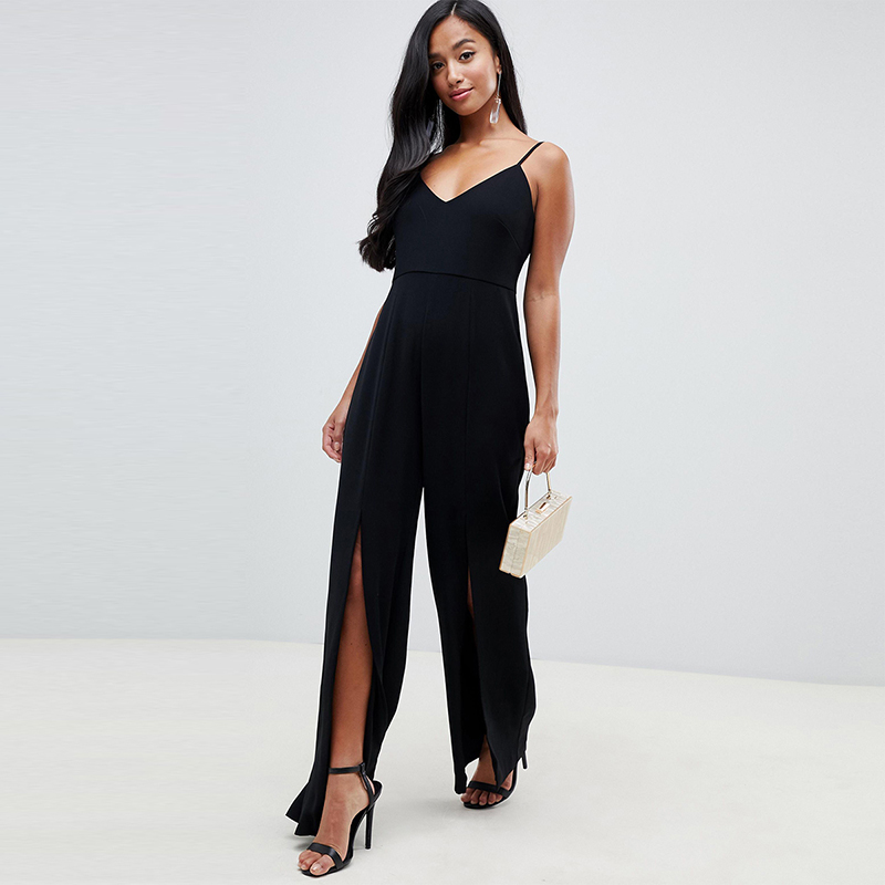 Haoduoyi European simple sexy V-neck sling-style open-back pants legs open pure color easy to wear jumpsuit female