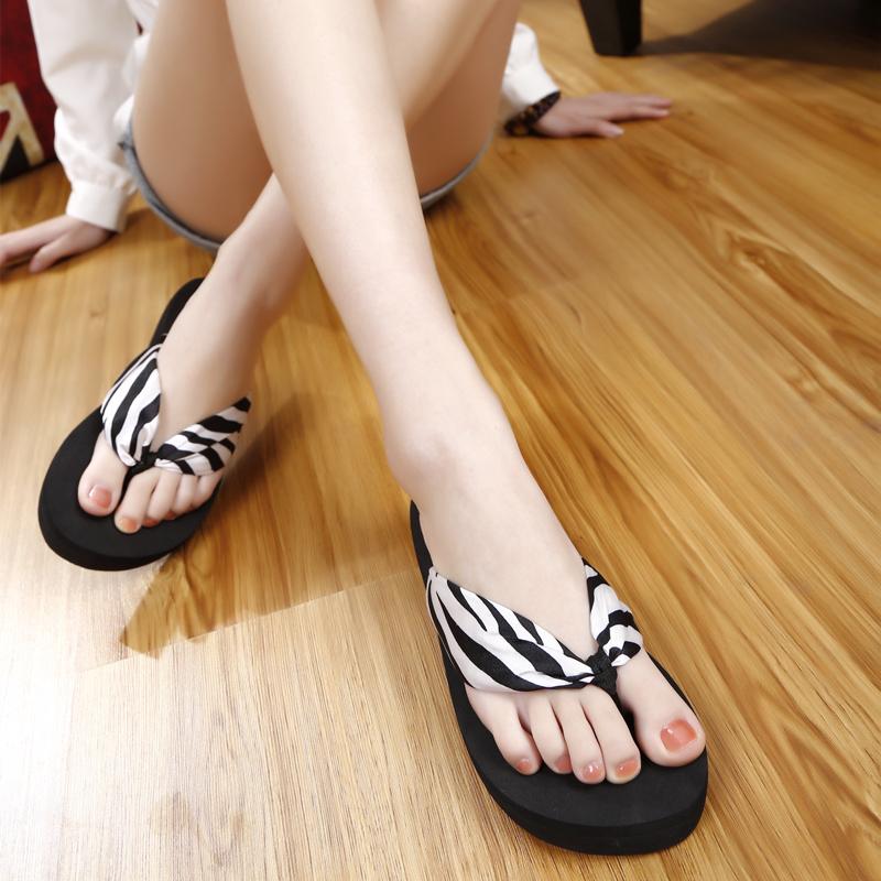 夏季坡跟厚底女式涼拖鞋拖時尚松糕人字拖韓版波西米亞沙灘鞋夾拖