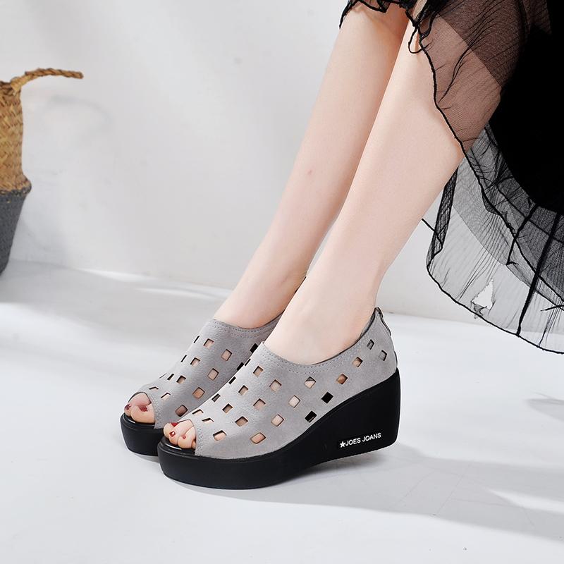 坡跟松糕厚底凉鞋女高跟夏季鱼嘴鞋坡跟镂空鞋洞洞鞋百搭休闲女鞋