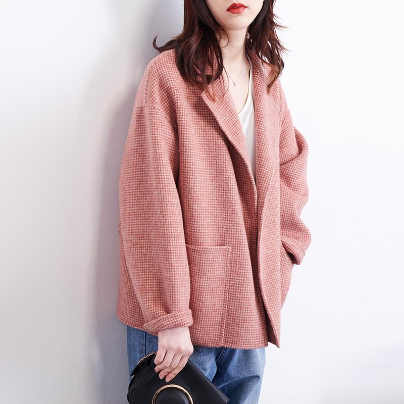 粉色毛呢格子小外套短款阿尔巴卡双面呢小个子双面羊绒大衣外套女