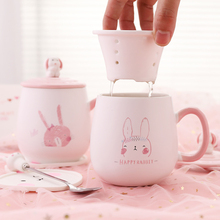 Cute Chao Meng Cup Children Ceramic Creative Personality Coffee Cup Trendy Couple Home Water Cup Mug with Covered Spoon
