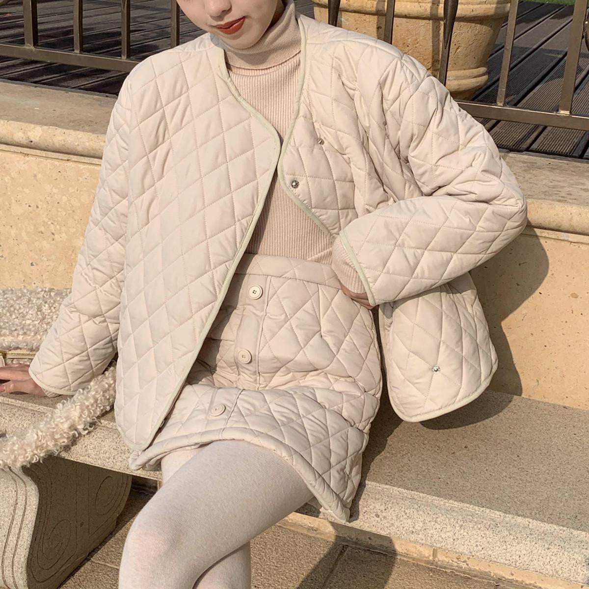 SYT温柔菱格棉服套装 小个子短款棉衣外套+高腰百搭a字短裙两件套
