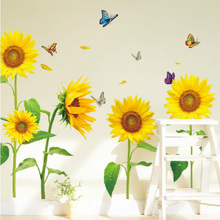 Sunflower Pastoral Wind Wall Sticker Bedroom Warm Living Room TV Sofa Background Wall Decoration Sticker Removable