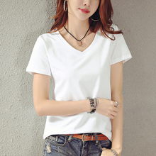 Summer suit 2019 new white V-collar short-sleeved T-shirt women's loose half-sleeve T-shirt, pure color and large-scale fashion