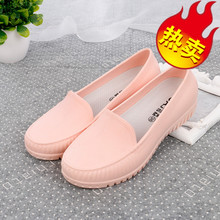 Spring and Summer Shallow Jelly Rainshoes Fashion Ladies Flat-soled Water Shoes Low Upper Rubber Shoes Slip-proof Waterproof Rainshoes