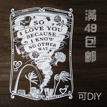 Flat paper carving drawings storm of love handmade novel creative Valentines Day gift custom design