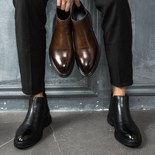 Summer 2019 Breathable Men Chelsea Boots, Youth High-Ups, Men's Leisure Leather Shoes, Large Shoes, Martin Boots