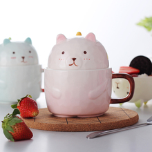 Wooden Bear Stand Up to Cup Cartoon Creative Cup with Cover Ceramic Cup Couple Milk Coffee Cup Cup Cute Bear Mark Cup