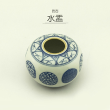 Artificial Drawing of Ceramic Water Drop Literary Articles by Hand in Imitation of Ming and Qing Dynasty Celestial Blue and White Porcelain