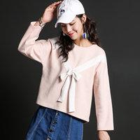 ANN 2016秋新款 iFashion 绑带宽松九分袖短款上衣小衫女CL123