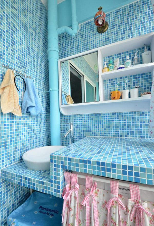 #75平地中海婚房#此套婚房主色彩选择了蓝色的。是蓝色的墙漆…