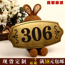 House number plate Home digital custom-made hotel package room residential rental door grade double color plate engraving