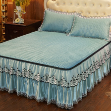 Cooling mattress bed skirt bed cover single piece three-piece bed cover ice silk anti-skid single piece lace style summer and summer