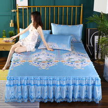 Summer Skirt Bedspread with Ice Mat Bed Sheath Single Lace Edge Slip-proof Bedspread Sheath Protective Sheath Air-conditioning Soft Mat 1.8m Bedspread Sheath