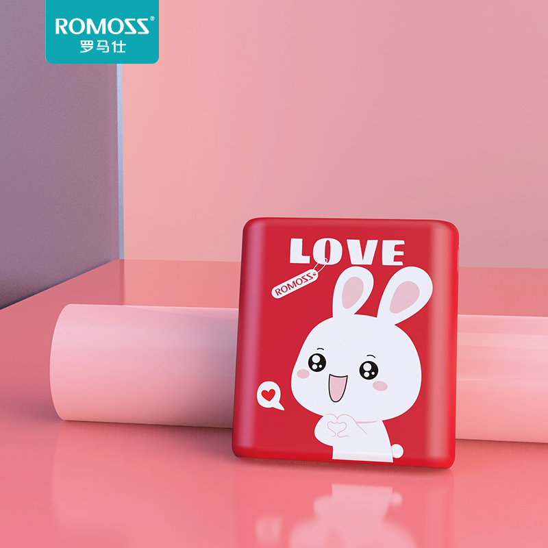 romanz power supply 10000 ma ultra-thin portable cartoon mini portable mobile power supply for xiaomi apple vivo huawei oppo mobile phone girl cute can get on the plane