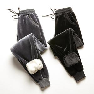 金丝绒裤子女秋冬加绒加厚羊羔绒运动裤女休闲宽松学生外穿哈伦裤