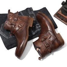 New British Style Men's knights boots, round head zippers, belt buckles, street casual boots, men's boots, fashion boots.